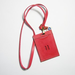 Leather leisure card, certificate, business card cover (red vegetable tan) __ Zuo zuo handmade leather goods