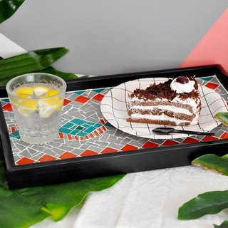 Birthday / Summer Color / Handmade Mosaic Tray Geometric Pattern Cake Tray Storage Plate Solid Wooden Brace Tray