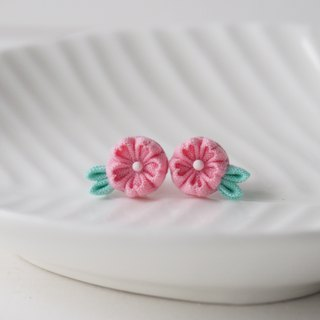 French Pink Cherry Blossom Sakura stud Earrings Clip-on 14KGF, S925 custom
