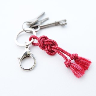 Infinity knot rope in red keychain