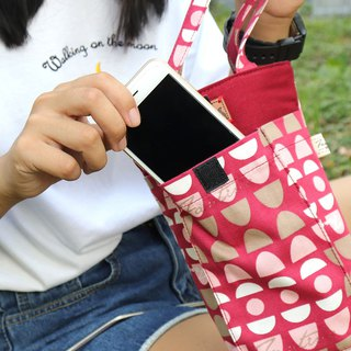 Thick environmentally friendly mobile phone drink bag (water jade maze) red water jade