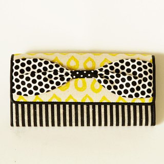 long wallet yellow drops stripes ribbon Script girl dots borders stripes