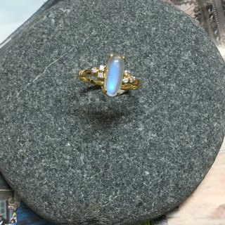 Sri Lanka Moonstone Handmade with 14 carat gold and Diamond Made in Nepal