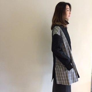 Black and white grid wool coat