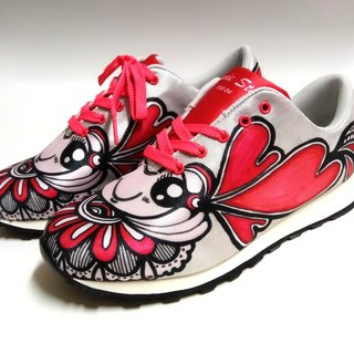 Hand-painted line drawing precision digital printing multi-function walking shoes (red) ~ in stock