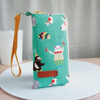 Lovely [Japanese cloth] Lake green hot silver geometric animal mobile phone bag, glasses bag, 5 吋 half available