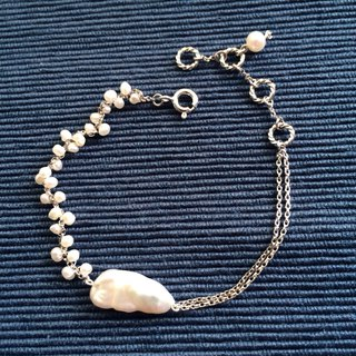 Home Design 100% Handmade 925 Silver Rainy Series Freshwater Pearl Recycled Bead Bracelet