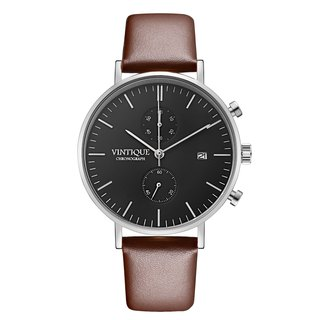 [Vintique] chronograph watch minimalist design sapphire glass steel stainless steel case leather strap CH-BS03