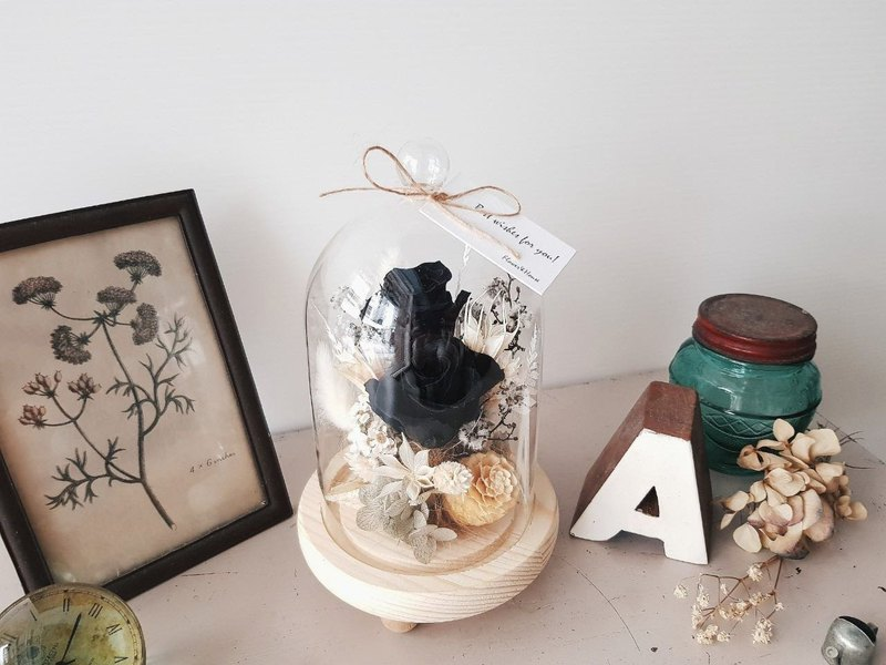Black rose does not wither flower glass flower cup │ eternal flower