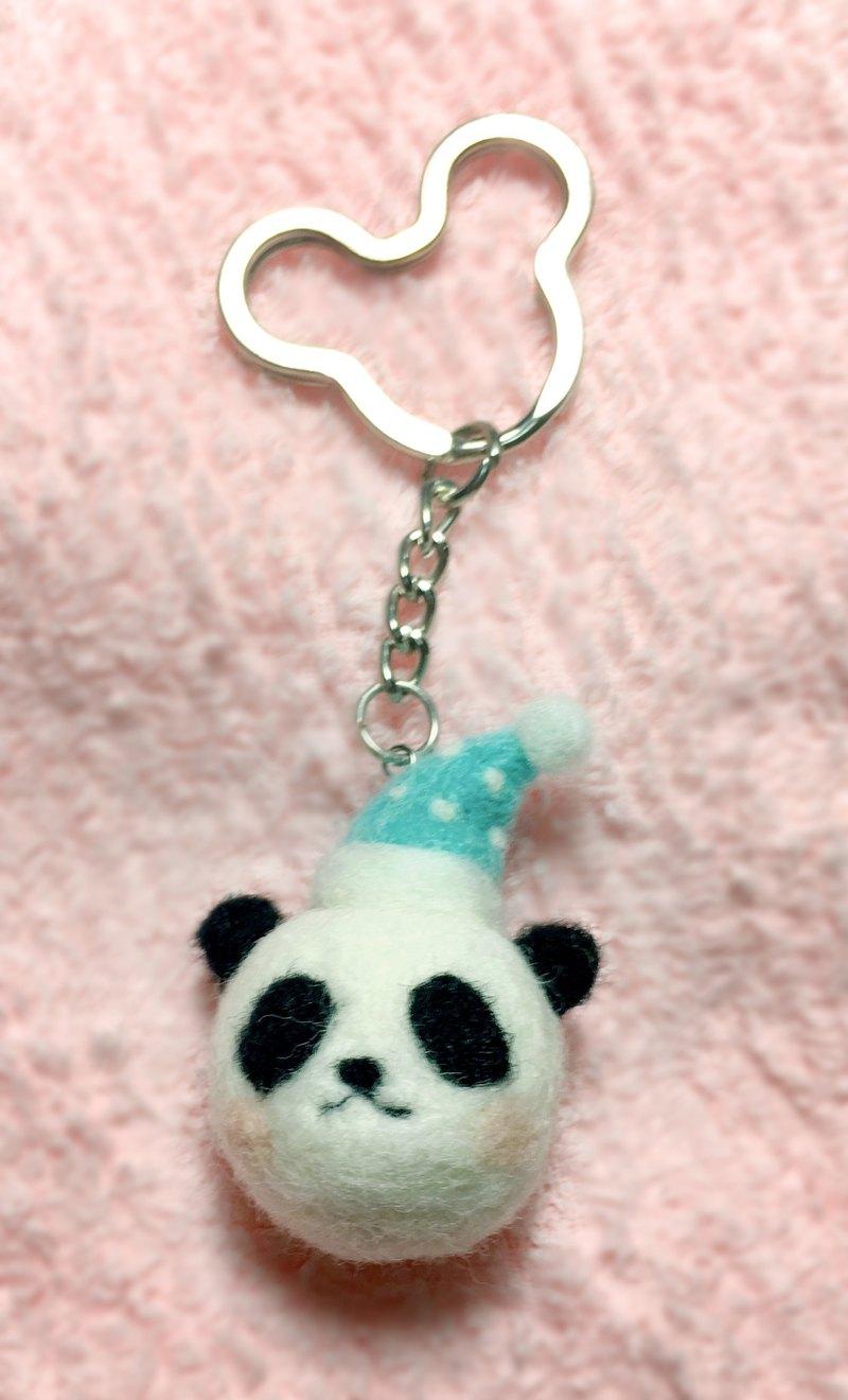羊毛氈 小熊貓  戴睡帽  鑰匙圈  吊飾