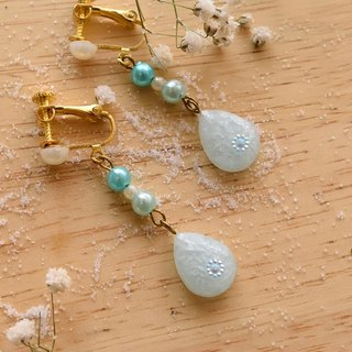 NEW!! Cute & Beauty Blue Water Drop Resin Clip Earrings