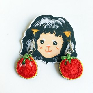 Tomato embroidery earrings