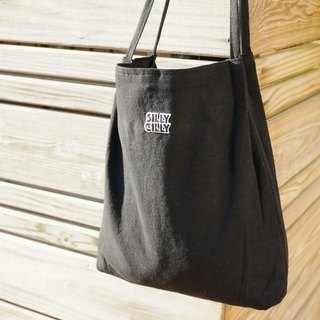 Sharp Healy logo cotton and linen canvas bag shoulder bag (black) A4 / double cloth / inner bag / magnetic buckle