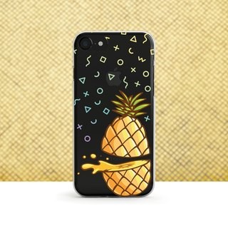 Cartoon pineapple - shatter-resistant transparent soft shell - iPhone X, iPhone 8, iPhone 7, iPhone 7 plus, iPhone 6, iPhone SE, Samsung