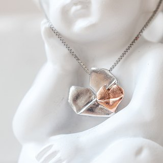 Silver Origami Heart Necklace (Dual Color) - Mother's Love