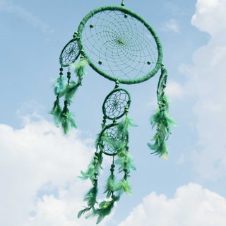 Limited hand-woven cotton and linen original dream catcher Boho wool line dream catcher - green matcha forest