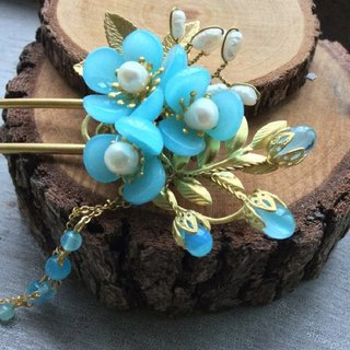 喵Handmade Chinese Plum Glass Hair Tie (Lake Blue/Bronze, Silver, Brass)
