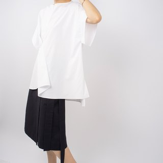 Gao fruit / GAOGUO original designer brand women's round neck zipper short-sleeved white shirt silhouette hierarchy Tops