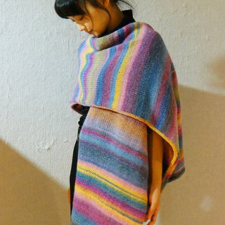 Limited hand rainbow ethnic wind knit wool vest long scarf
