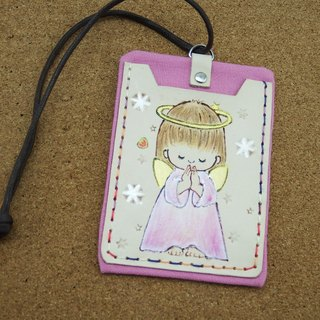 Double leather card holder certificate set prayer angel