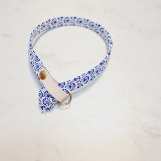 Cat collar blue summer style tile printing totem vegetable tanned leather can be purchased tag