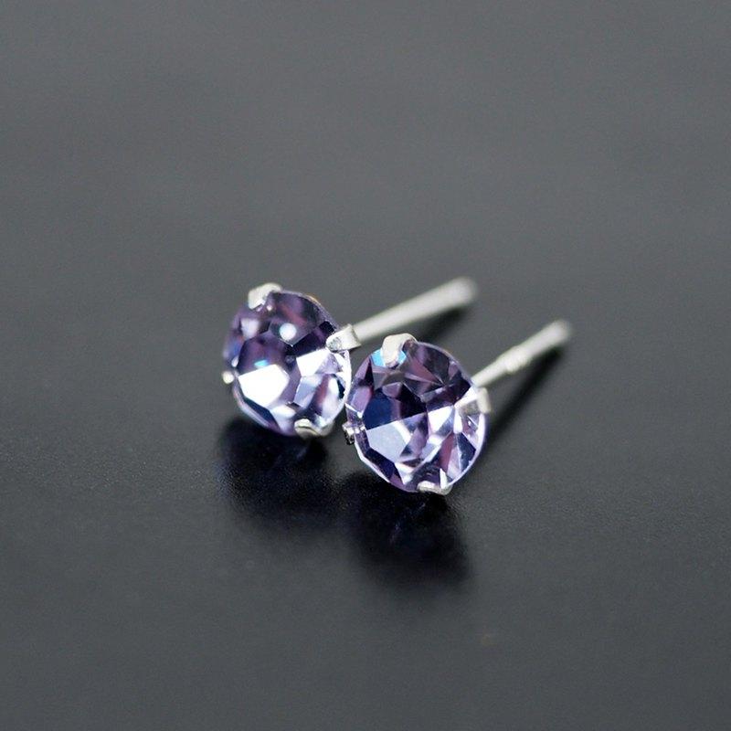 feed75a25 Purple Alexandrite - Color Changing Swarovski Crystal Silver Earrings, 6mm  Round - Designer Studemann | Pinkoi