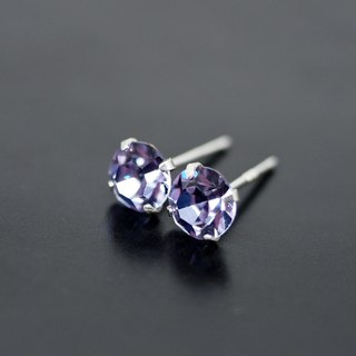 Purple Alexandrite - Color Changing Swarovski Crystal Silver Earrings, 6mm Round