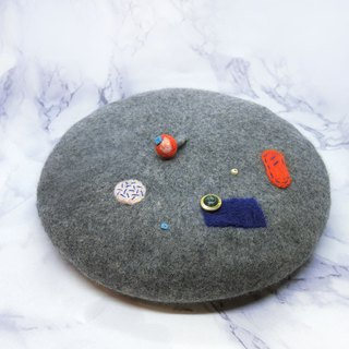 【Shell art】 100% pure wool felt berets (geometric gray)