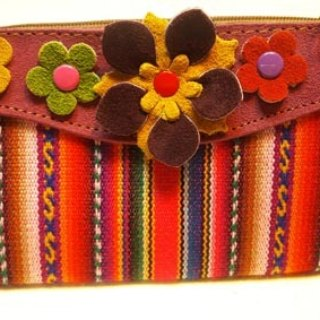 Colorful textured glove + Leather Flower Bag - purple