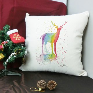 [Illustrator / Sam] Rainbow deer cotton canvas pillow - home decoration