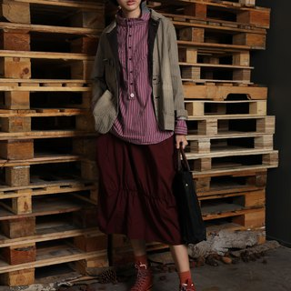 Native _ wooden gap woven elastic knee skirt