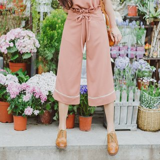 Anne Chen 2018 spring and summer new ladies trousers waist ruffled wide-leg pants