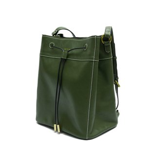 Olive green full leather Electric side bucket backpack