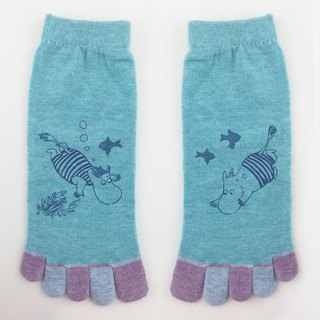 Moomin 噜噜m authorized - five toe socks (blue), AE03