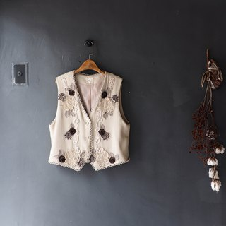 Hokkaido beige embroidery embroidered romantic love handwritten antique wool vest vintage