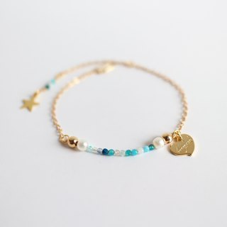 【have gift box】18kgf blue green natural stone cotton pearl simple Bracelet