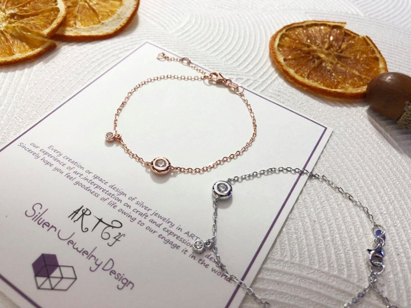 Sweet sterling silver bracelet (2 colors available - white gold / rose gold)