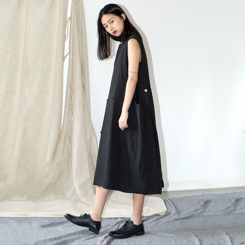 HFCY/Good wind often has 2019 summer Japanese aesthetic cotton and linen side buckle fake two-piece sleeveless loose dress