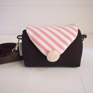 Macaron Zipper Side Camera Bag - Coffee + Vermicelli (Monocular / Single Eye / Polaroid)