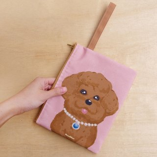 Toy poodle canvas clutch bag