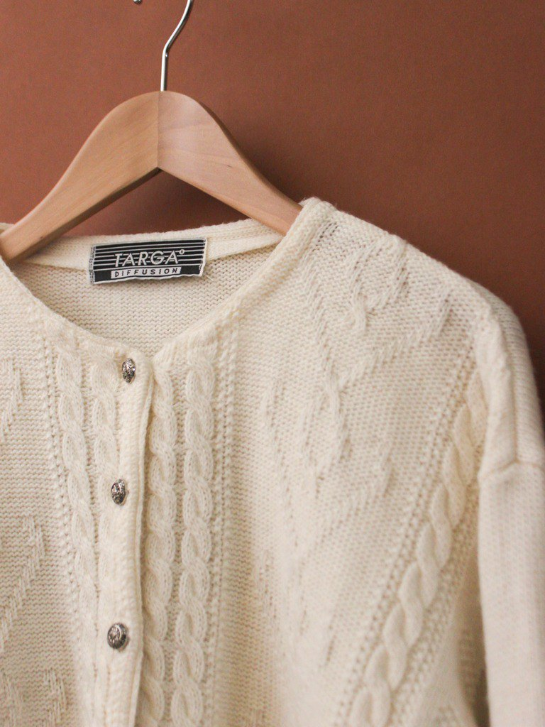 Vintage European French Country Wool White Vintage Knit Sweater Jacket Vintage Outer