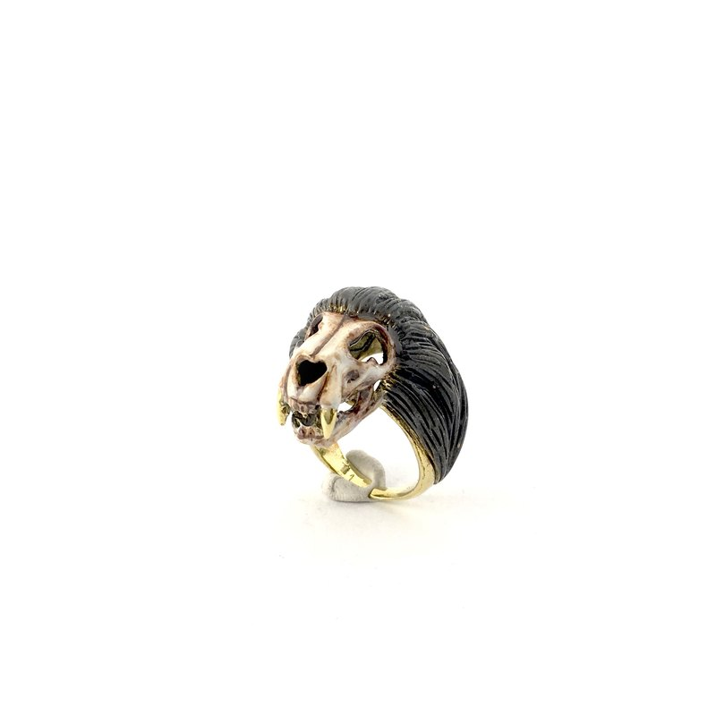 Zodiac Lion skull ring is for Leo in Brass and Realistic color ,Rocker jewelry ,Skull jewelry,Biker jewelry