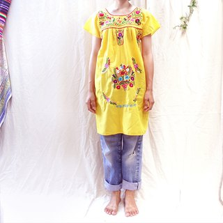 * BajuTua / Vintage / Mexican Handmade Embroidered Yellow Dress