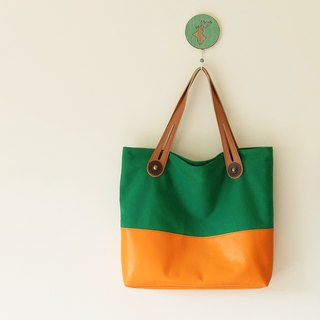 Orange hit color shoulder bag canvas + sheepskin Japan handle green + orange + brown