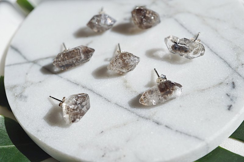Raw Double Terminated Herkimer Diamond 925 silver earrings
