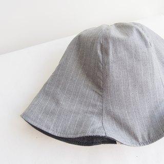 Grey and White Stripe - Handmade Bucket Hat | Double sided