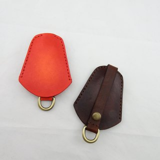 Simple Leather Key Case - Lucky Red Happy Brown