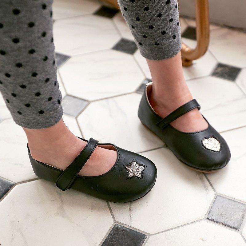 不對稱金蔥星心寳寳娃娃鞋-洛克黑