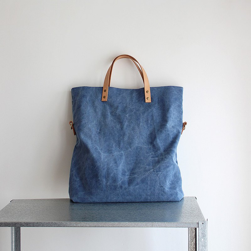 PoolBAG 3-way washed canvas bag with leather strap