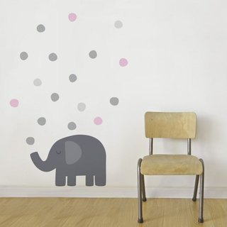 Elephant blowing bubble cloth wall stickers (gray red)